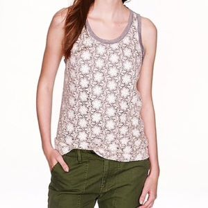 J. crew crocheted lace white and grey top S